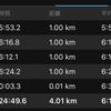 今夜の4キロラン。最初の1キロ5分台で走れた!
