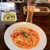 🚩外食日記(90)    宮崎ランチ      🆕「ダブル」より、【えびとトマトクリームパスタセット】‼️