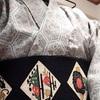 おうち着物、ネルシャツ+ウール+半幅帯
