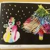 介護施設で本作り(クリスマスのスクラッチアート)