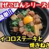 【レシピ】簡単!混ぜごはん!サイコロステーキと焼きねぎ!