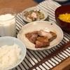ごはん、鳥の照り焼き、タコとキャベツのごま酢和え、とうもろこしのスープ