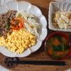 作り置き活用【簡単ひとり分献立】ネギと豚そぼろの彩りごはん・白菜と厚揚げの卵とじ・レンジで簡単!チンゲン菜と豚そぼろの中華風