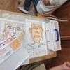 2年生:図工 自画像 水彩絵の具を使って
