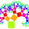 ピタゴラスの定理により、各色の面積はずっと同じ