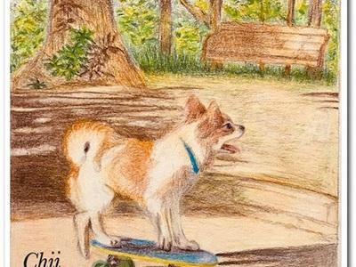 天才スケボー犬の絵が完成〜代々木で出会いました〜