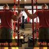 グリップ幅とグリップの向きが筋活動に及ぼす影響(バックスクワットではナロウスタンスよりもワイドスタンスのほうが大殿筋の筋活動が297%大きくなり、さらに深く行うにつれて大殿筋の貢献度が増大した)