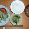 生活ー料理  一般家庭のー焼肉とアサリ味噌汁