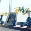 黄色と青の窓辺
