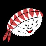 かわいいエビのお寿司 のイラスト