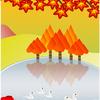 シェイプアート『水面に映る紅葉』《ネコさんの作品》