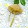刺繍糸で編むストローハット ブローチ