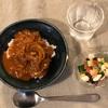 ハヤシライス、豆きゅうりトマトサラダ