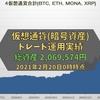 【仮想通貨】【トレード】【運用状況】総資産は2,069,574円でした(2021年2月20日0時時点)【暗号資産】BTC,ETH,MONA,XRP