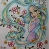 完成】ペリシア色鉛筆で髪の毛をユニコーンカラーに塗ってみました☆アートぬりえラプンツェルより