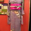紫系小花に梅小紋×ピンク色地鳩刺繍開き名古屋帯