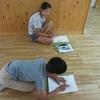 6年生:図工 遠近法を使って学校を描く