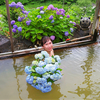 6月のA4カレンダーは紫陽花の花束抱えて猫鼻の湯