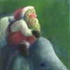 パステル「サンタさんと象」