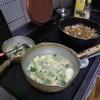 幸運な病のレシピ( 1663 )朝:魚4種類、ひき肉と根菜の炒め煮漬け、豆苗スープ(玉ねぎ・人参・卵とじ、シャンタンと鶏ガラ味)、マユのご飯、昨晩は身欠ニシンを煮しめた