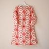 オーダー品 絹紬 赤色麻の葉 長袖