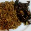 ムジャダラと冷蔵庫の残り野菜炒め