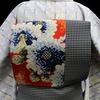 絞り染現代小紋×ドット&モザイク菊仕立て上がり名古屋帯