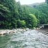 束の間の夏休み前編。下市市森林公園やすらぎ村で川遊び。