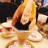 松本駅前の喫茶店 珈琲美学アベでアイスクリームがそびえ立つモカパフェを