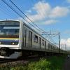 有名撮影地のインカーブを通過する209系電車