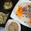 牛しゃぶしゃぶサラダ、エリンギ青のり炒め、じゃがたまスープ