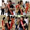 日本共産党都議団「命が大事 五輪は中止に」スタンディングとビラ配布