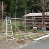 雨が降らないので木材小屋の工事