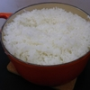 ル・クルーゼでご飯を炊いています。16cmのココット・ロンドで3合はギリギリ。
