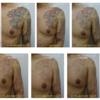 胸、肩、腕、濃い黒と赤が広く入ったタトゥー。9回分の写真を並べました。