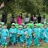 ばら組のプレーデーは夕日寺で森の幼稚園