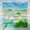パステル画「春の水田」