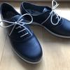 新しい靴を履いて