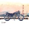フリーランスのイラストレーターを目指す第一歩は名刺作り!デザインとして愛車SR400の水彩バイクイラストを描いてみました!