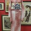 ピンク暈し撫子ジョーゼット小紋 ×白地撫子織絽名古屋帯