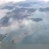 ANA プレミアムクラスで羽田空港から岩国錦帯橋空港、JALとは違う航路、車窓に懐かしい瀬戸内海の島々が