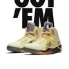 "〔全く分からん SNKRS〕OFF-WHITE × NIKE AIR JORDAN 5 ""SAIL""   Android機種で GOT'EM 表示〔2020/10/29 販売〕"