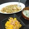 レタス鶏むね炒め、パプリカツナ炒め、味噌汁