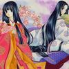 「春と冬の姉妹」オリジナルアナログ平安イラスト(再掲):丁度冬から春への移行期