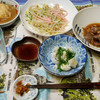 夕食:タコの白子、鶏のハツ、エビの炊き込みごはん、ほか