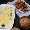 グラタン、唐揚げ、スープ