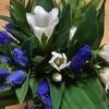 お盆の後片付けと竜胆の花