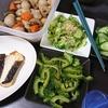 魚の西京漬け、ゴーヤのめんつゆ漬け、きゅうりの酢の物とぬか漬け、味噌汁