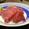 豊洲の「米花」で身欠きにしんの山椒煮、まぐろ刺身3種盛り、きのこのお吸物、柿。