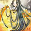 「月衣」色鉛筆&鉛筆オリジナル平安イラスト:中秋の名月